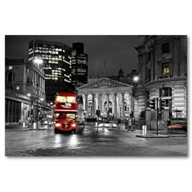 Αφίσα (μαύρο, λευκό, άσπρο, πόλη, λεωφορείο)